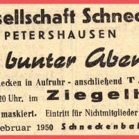 """Großer Bunter Abend im Ziegelhof. Motto: """"Schnecken in Aufruhr !""""."""