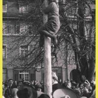 Schmutziger Donnerstag: Auch die Balletteuse Elli Bischoff, diesmal als Hexe verkleidet, versuchte auf dem Baum zu kommen.