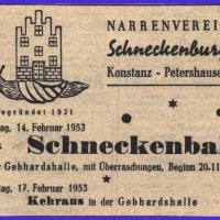 Zeitungsanzeige vom Schneckenball.