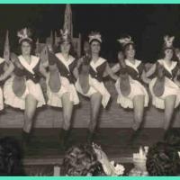 Jubiläums-Abend: Danach versetzte ein schwungvolle Gardemarsch vom Schneckebürgler Ballett das Publikum in Begeisterung. Es tanzten mit: E. Bingesser, E. und I. Bischoff, H. und R. Gallmann, M. Heitmar, M. Hogmeier, H. Peich, W. Schaer und I. Stöß.