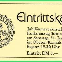 25 Jahre Fanfarenzug Schneckenburg: Die Eintrittskarte