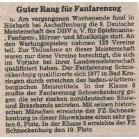 Deutsche Meisterschaft in Aschaffenburg: 6. und 10. Platz für den Fanfarenzug.