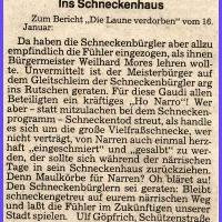Narrenkonzerte im Konzil: Da hatte Bürgermeister Weilhard keinen Spaß verstanden und den Schneckenbürglern mit Anzeige gedroht, wenn sie nicht den Text ändern. Der Schuß ging aber im närrischen Konstanz nach hinten los. Die Bürger waren entsetzt.