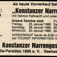 Narrenkonzerte im Konzil: Südkurier-Anzeige der Narrenkonzerte.