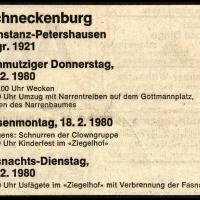 Das Programm der Schneckenburg von 1980.