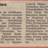 60 Jahre Schneckenburg: Die Jubilare aufgelistet.