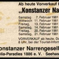 Narrenkonzerte im Konzil: Südkurier-Anzeige für die Abende.