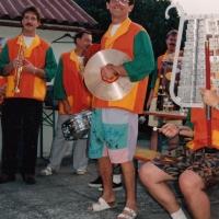 Die Clowngruppe beim Sommerfest der Kleingärtner.