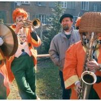 Rosenmontag mit der Clowngruppe im Hindenburgblock.