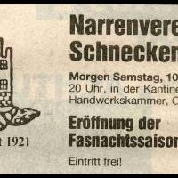 11.11. in der Handwerkskammer: Zeitungs-Anzeige.