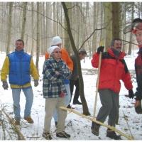 Narrenbaumholen in Hegne: Die Elferräte beim Räppeln des Baumes.