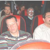 Die Clowngruppe in Straßbourg: Die Rückfahrt verlief dann ziehmlich ruhig.