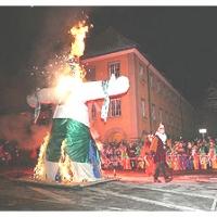 Verbrennung auf dem Stephansplatz: Die Puppe wurde entzündet.