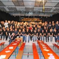 Männerballett-Treffen vom Schneeschreck: Die Helfer-Mannschaft vor der Saalöffnung.