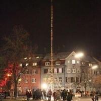 Narrenbaumstellen auf dem Gottmannplatz: Dann konnte der Baum von den Holzern aus Allensbach gestellt werden.