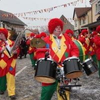 Hegau-Bodensee-Umzug in Rielasingen: Die Clowngruppe.
