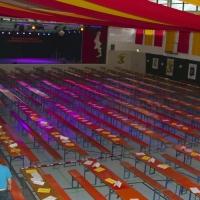 Männerballett-Treffen vom Schneeschreck: Die dekorierte Wollmatinger Halle vor dem Event.