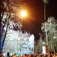 Narrenbaumstellen auf dem Gottmannplatz: Es waren wieder viele hundert Zuschauer bei diesem Spektakel dabei.