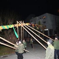 Narrenbaumstellen auf dem Gottmannplatz: Die Holzer aus Allensbach stellten den Baum.