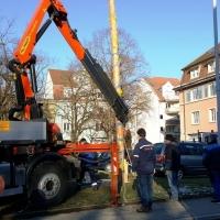 Narrenbaumfällen auf dem Gottmannplatz: Mit Hilfe eines Kranes wurde eine Schlaufe um den Stamm gelegt.