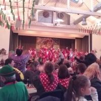 Rosenmontag mit der Clowngruppe: Der Abend begann mit dem Auftritt in der Mooser Halle.