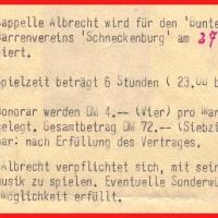 Bunter Abend: Auszug aus dem Vertrag zwischen dem Narrenverein Schneckenburg und der Kapelle Albrecht.