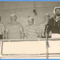 Bunter Abend: Rein Schiff mit Matrosen, Kadetten, und dem Käptn. Mit dabei: A. Volz, W. Mutter, B. Ramsperger, A. Koch, H. Mutter, W. Auer, E. Beck, I. Degen, D. Stöß, R. Hässler.