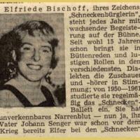 Bunter Abend im Schützen: Zeitungsartikel über Elli Bischoff.