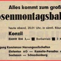 Rosenmontagsball der Vereinigung Konstanzer Narrengesellschaften im Konzil.