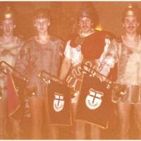 Narrenkonzerte im Konzil: Peter Stöß, Norbert Knäbel, Herbert Heinrich und Ekki Moser spielten das Einmarschsignal für Julius Cäsar, gespielt von Helmut Faßnacht.