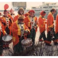 Schmutziger Donnerstag: Die Clowngruppe vor dem Auftritt im Byk-Schiff.