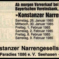 Narrenkonzerte im Konzil: Südkurier-Anzeige.
