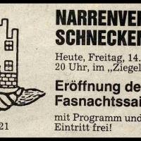 11.11. der Schneckenburg: Südkurier-Anzeige