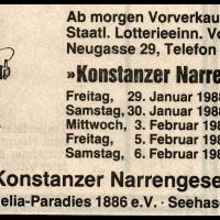 Narrenkonzerte im Konzil: Zeitungs-Anzeige.