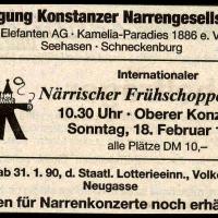 Internationaler Frühschoppen: Zeitungs-Anzeige.