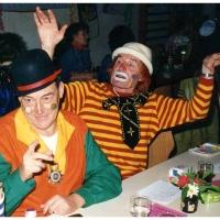 75 Jahre Schneckenburg: Clowngruppen-Gründungsmitglieder Herbert May (links) und Martin Fistler (rechts).