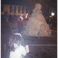 Verbrennung auf dem Stefansplatz: Die Puppe wird entzündet.