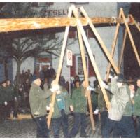 Narrenbaumstellen auf dem Gottmannplatz: Die Allensbacher Holzer stellen den Baum.