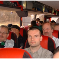 Die Clowngruppe in Straßbourg: Vergnügte Stimmung auf der Anfahrt.