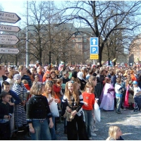 Die Clowngruppe in Straßbourg: Das Publikum war begeistert.