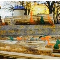 Narrenbaumfällen am Gottmannplatz: Nun konnte er zersägt und abtransportiert werden.