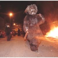 Verbrennung auf dem Stephansplatz: Der Schneeschreck am Feuer.