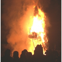 Verbrennung auf dem Stephansplatz: Bis sie vollkommen niederbrannte.