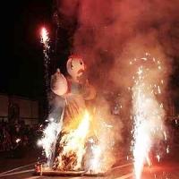 Verbrennung auf dem Stefansplatz: Vor der Verbrennung wurde ein kleines Feuerwerk abgebrannt.