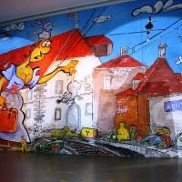 11.11. in der Linde: Der Konstanzer Bahnhof. Das Bühnenbild ganz nach dem Motto des Abends.