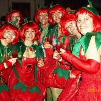 Partynacht an Fasnachtssamstag im Konzil: Die Schneckenbürglerinnen waren als Erdbeeren verkleidet.