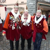 Schmutziger Donnerstag: Die Elferräte Rolf Reisacher, Andy Fritzsche und Jörg Deicher auf dem Obermarkt.