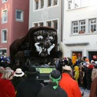 Umzug am Fasnachtssonntag in der Stadt: Der Schneeschreck beendete den Schneckenburg-Tross.