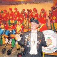 Die Clowngruppe beim Frühschoppen der Quaker in Allmannsdorf.