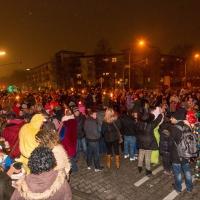 Narrenbaumstellen auf dem Gottmannplatz: Eine große Menschenmenge erwartete den Baum bereits.